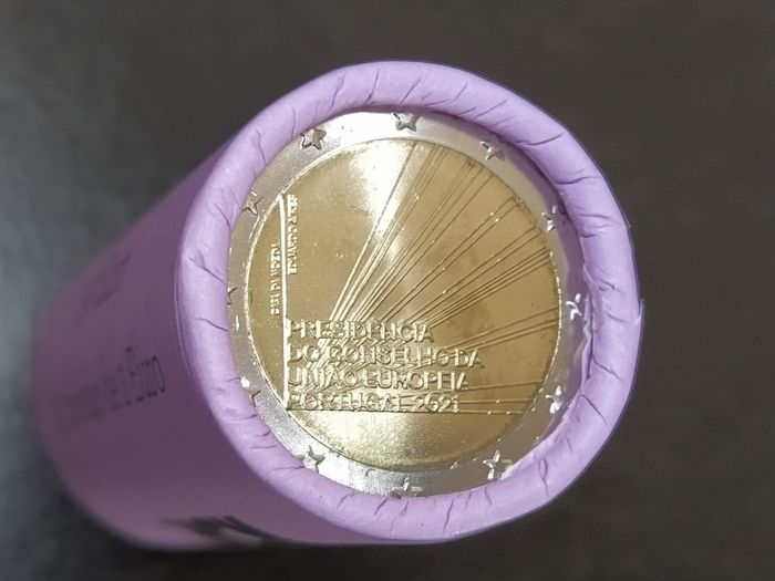 """Portugal. 2 Euro 2021 """"Presidency of the Council of the European Union"""" (25 pieces) in roll"""