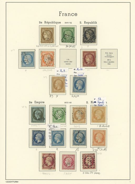 France 1849/1871 - Set followed by classic Cérès and Napoleon ND cancelled and mint including some signed... Value: - Yvert Entre les n°1 et 38