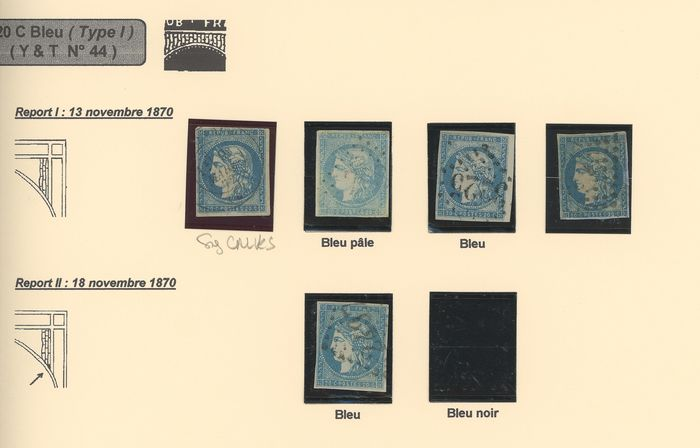 Frankreich 1870/1871 - Study of shades of 20 centimes Bordeaux I, II, III, with duplicates, including signed ones and - Yvert N°44, 45, 46 A/B/C