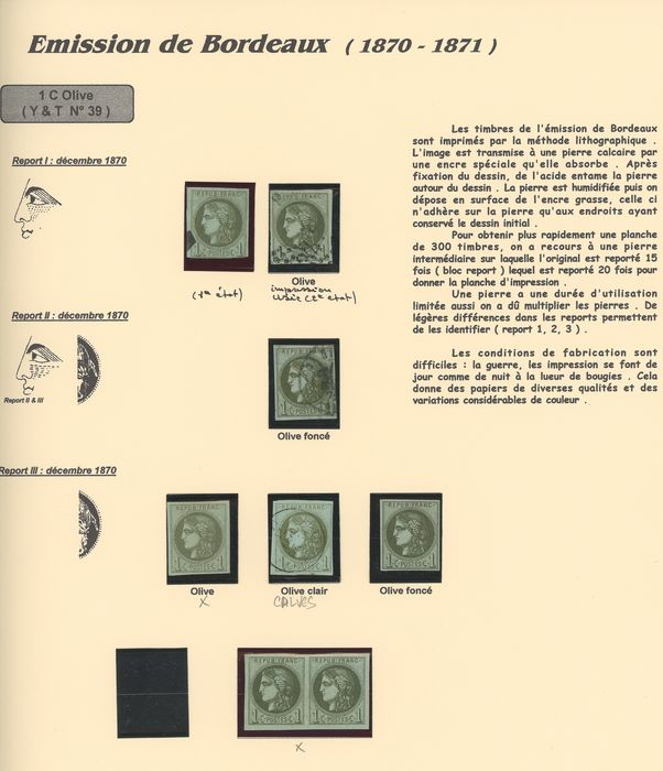 France 1870/1871 - Study of shades of 1 and 2 centimes Bordeaux, with duplicates. Value: over 5000. - Yvert N°39 et 40