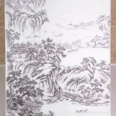 Tile - Grisaille - Porcelain - Landscape - China - Republic period (1912-1949)