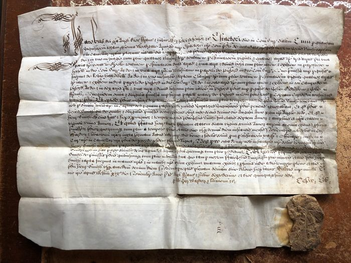 James 1st - Vellum Exemplification Tenements/Lands in Hoswell & Pyrford with Remnants of James 1st Royal Seal - 1618