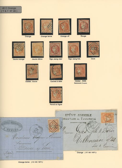 Frankrijk 1870/1871 - Study of shades of 40 and 80 centimes Bordeaux, with duplicates. Value: over 14000. - Yvert N°48 et 49