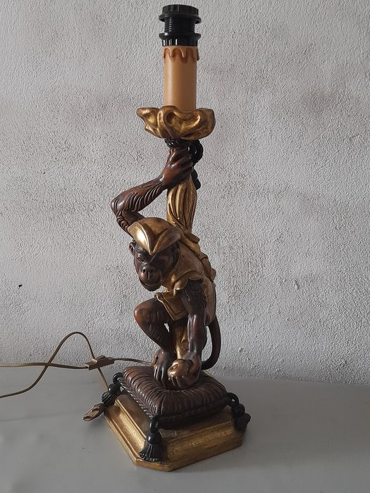 Table lamp, lamp with monkey figure