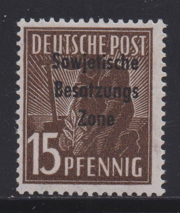 Geallieerde bezetting - Duitsland (Sovjet-zone) 1948 - Machine overprint 15 pfennigs in rare colour with photo expert finding - Michel 187 e