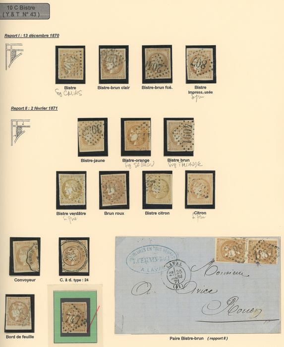 France 1870/1871 - Study of shades of 10 centimes Bordeaux, with duplicates, including signed ones. Value: over 3500. - Yvert N°43A/B