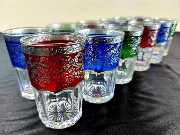 """ Heneriette "" - service of water glasses (12) - crystal-enamel-platinum"