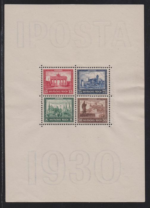 "Duitse Rijk 1930 - ""IPOSTA"" block with photo certificate - Michel Block 1"