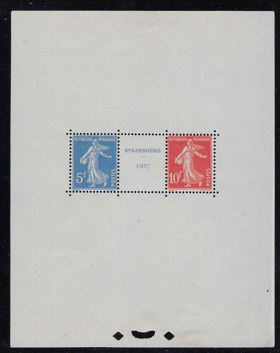 France 1927 - Strasbourg international philatelic exhibition, signed Calves. - Yvert bloc n°2