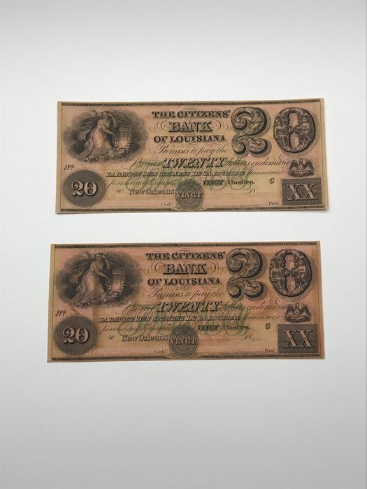 United States of America - Obsolete currency - 2 x 20 Dollars 1800's - Citizens bank - remainders
