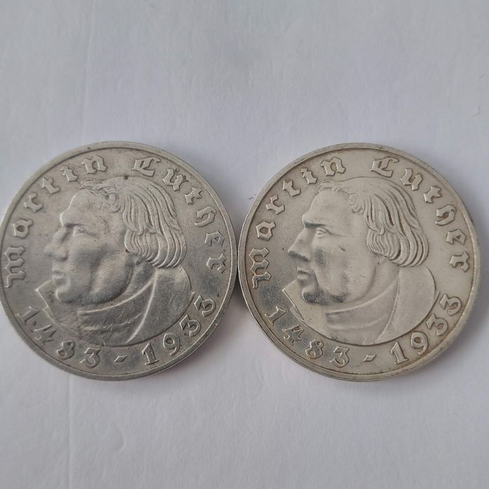Germany, Third Reich. 2 Reichsmark 1933 A & F 'Martin Luther', 2 Coins