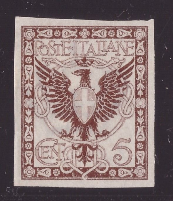 Italy Kingdom 1901 - Three 5 cents specimen stamps Floral set in different colours - Sassone N. 70 saggio
