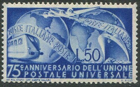 Triest - Zone A 1949 - AMG-FTT - U.P.U. L. 50 with albino overprint and variety 75 c., the only one known - Sassone N.40 Da +40 Ga
