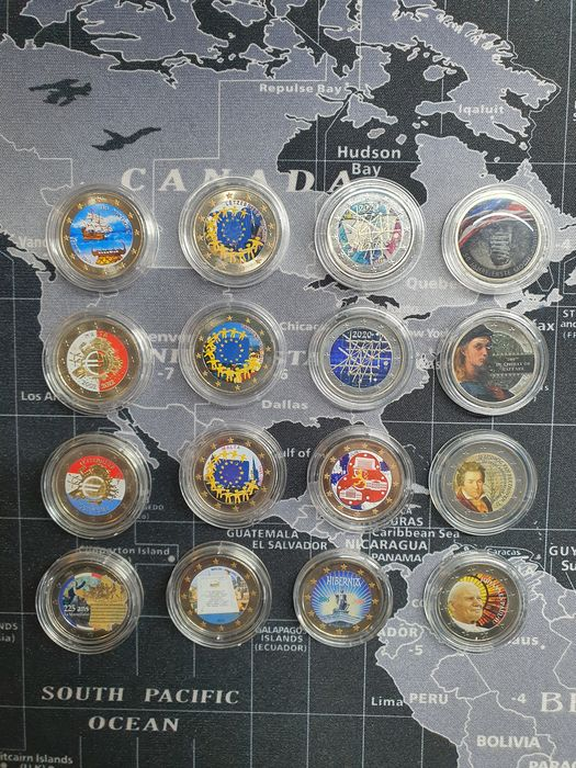 Europe. 2 Euro Commemorative (16 pieces) with color