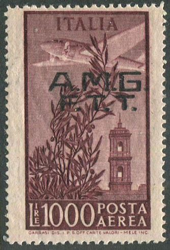 Triest - Zone A 1948 - AMG-FTT - Capitol airmail L. 1,000 larger than normal - Sassone N. A16