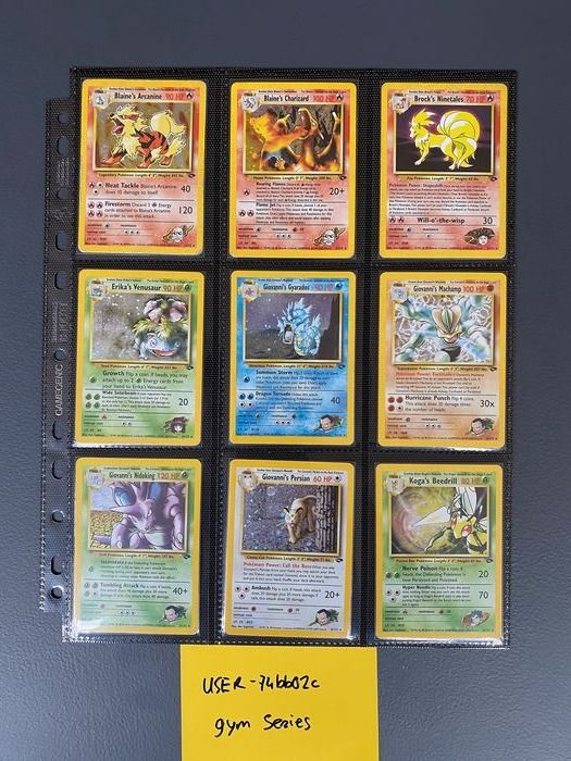 WOTC - Complete album Pokemon GYM CHALLENGE set 132/132 - Good condition - 2000 - Blaine's Charizard