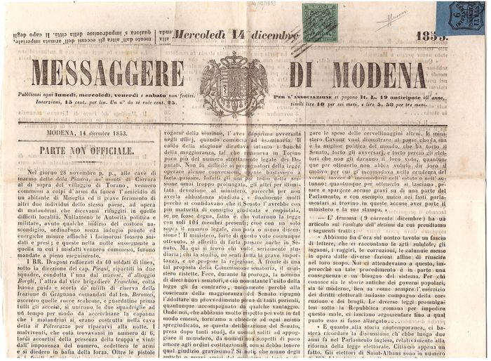 Italiaanse oude staten - Parma 1852/1853 - 9 cents light blue postage due in mixed postage on newspaper with 5 cents green of Modena - Sassone Modena 7, Parma 2
