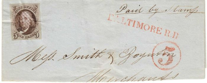 United States of America 1849 - Letter, railroad tied with red Waffer embossing - Scott 1