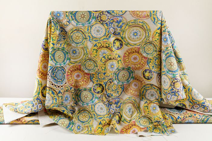 5.00 x 1.40 meters !! Canvas fabric with designs dedicated to Sicily - Cotone, Resina/Poliestere - 21° secolo