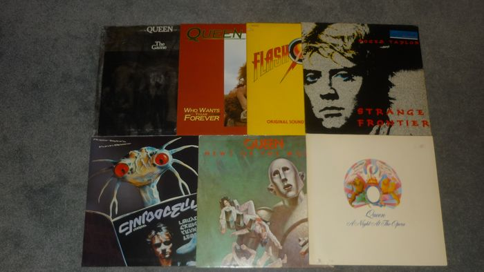 """Queen - 7 albums incl. A Night at the Opera-Flash Gordon-News of the World-The Game and more - Multiple titles - LP's, Maxi single 12""""inch - 1975/1986"""