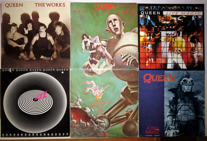 """Queen - Four albums, one Maxi single - Multiple titles - LP's, Maxi single 12""""inch - 1977/1986"""
