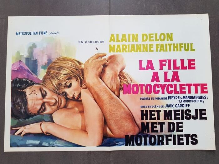 The Girl on a Motorcycle (1968) - Alain Delon - Poster, Belgian Cinema release