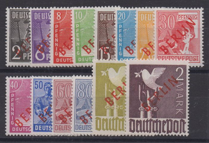 "Berlin 1949 - ""Red overprint"" - complete, expertised - Michel 21-34"
