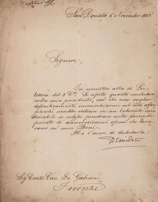 Prince Anatole Demidoff - Autograph; Signed Letter Refusal of the Proposed Deal from San Donato to Cav. Galvani - 1856