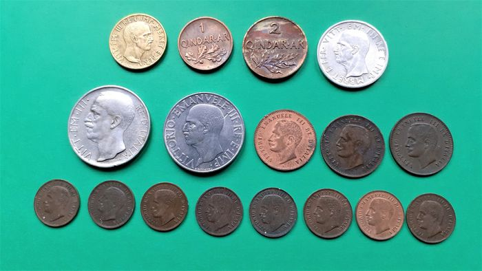 Albania, Italy. Lot various coins 1903/1943 (17 pieces)