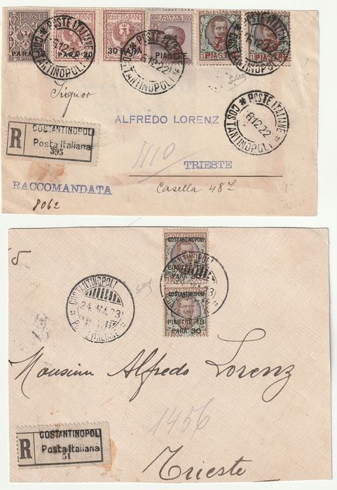 Levant - Constantinopel 1922/23 - 2 very rare interesting registered fronts to Trieste - Sassone NN.33/4+63+82