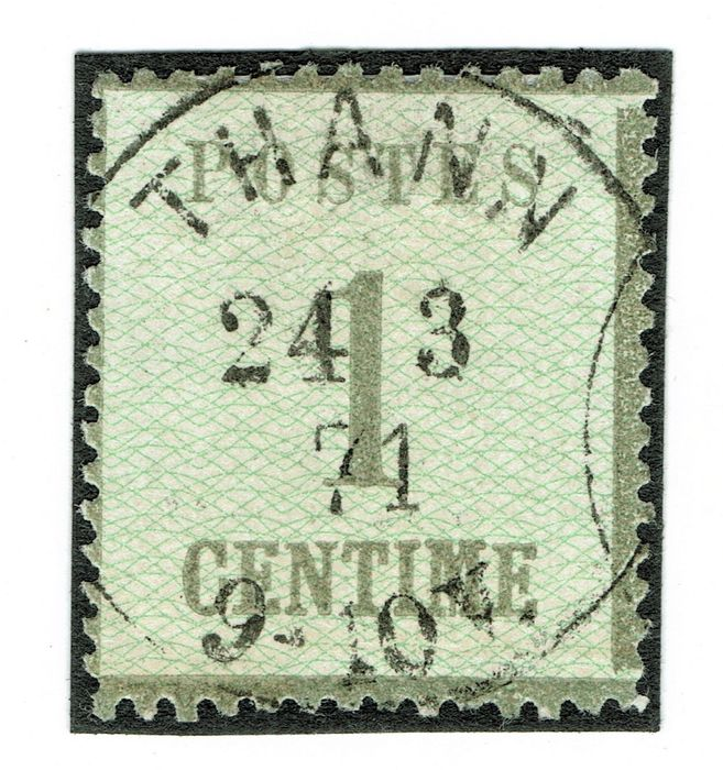 "France 1870 - Alsace-Lorraine, THANN cancellation, ""inverted burelages"", signed Calves. Catalogue value: €850. - Yvert 1b"