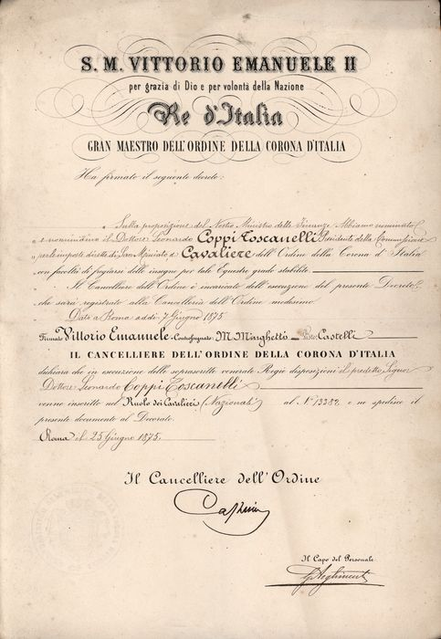 Vittorio Emanuele II di Savoia (in name of) - Manuscript; Conferment of the Order of the Crown of Italy - Knight Title - 1875