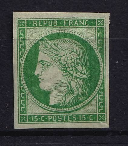 France 1849 - Sup Ceres, 15 centimes green, reprint of 1862. - Yvert 2f