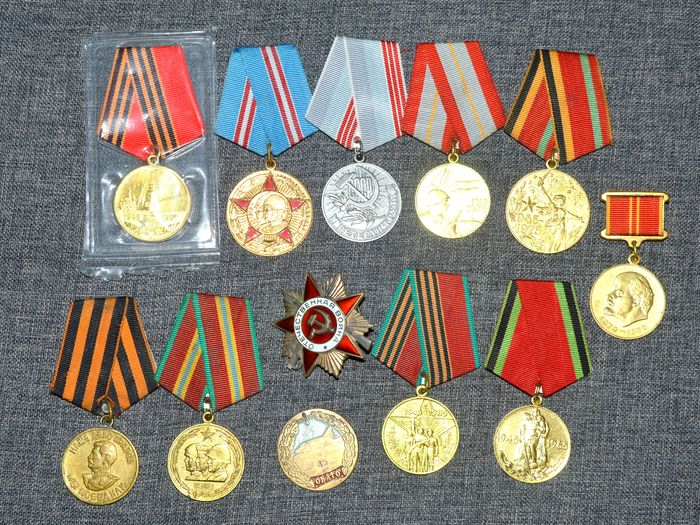 Russia - Collection of Russian 11 x medals & Patriotic War Silver Award - Medal