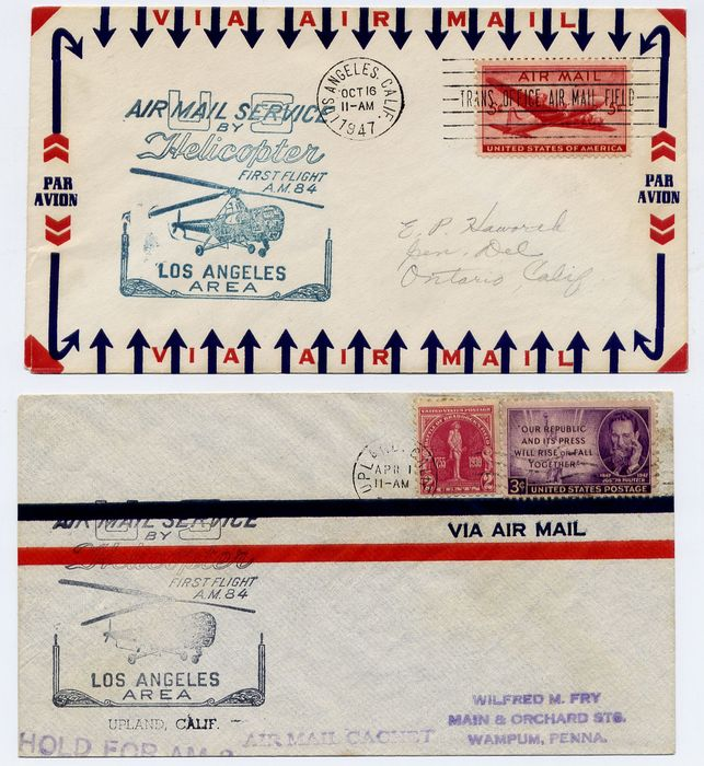 États-Unis 1948 - Airmail Service by Helicopter : first flight A.M.84 : lot of 14 covers