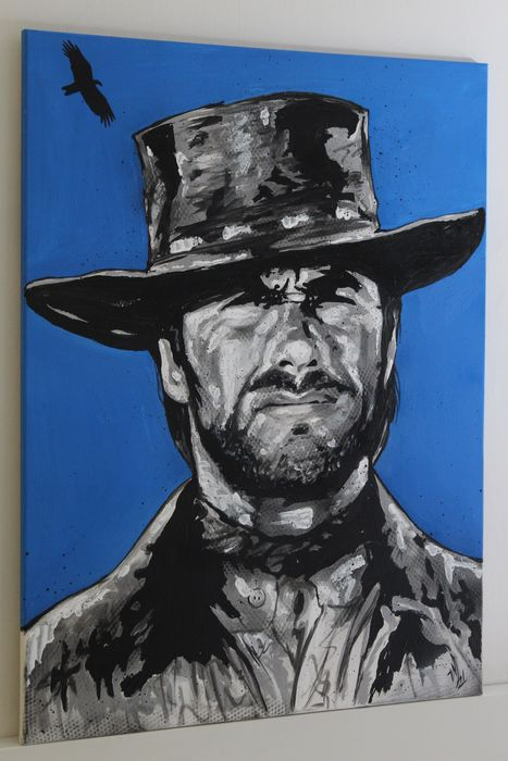 The Good, the Bad and the Ugly (1966) - Clint Eastwood - 1 - Kunstwerk, Schilderij Original - Acrylic on Canvas (80x60 cm) / Signed by Artist Vincent Mink