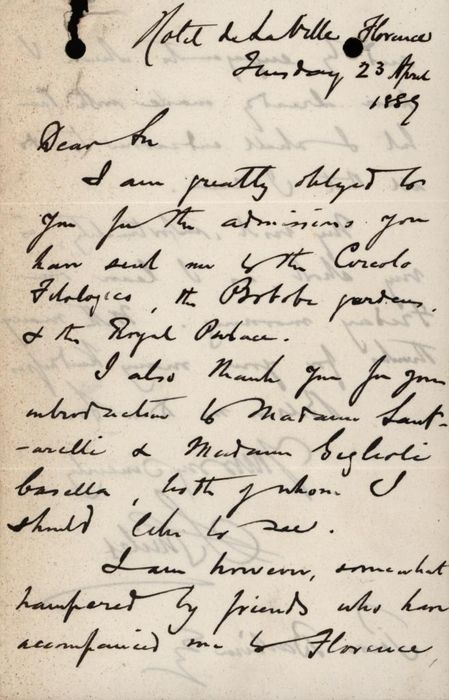 Samuel Smiles Writer - Autograph; Letter for Thanks Publisher Barbèra for Participation at Circolo Filologico from Florence - 1889