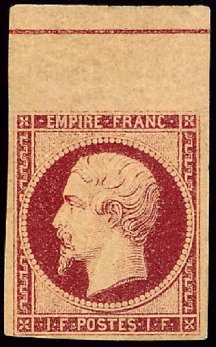 France 1853 - Napoleon III, Ceres, imperforate, 1 franc carmine with fillet frame. - Yvert 18c