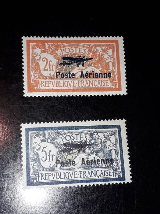 France - Airmail, No. 1 and 2, mint **, deluxe, signed. - Yvert