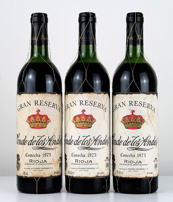 1975 Conde de los Andes Centenary Edition (bottled in 1996) - Rioja Gran Reserva - 3 Botellas (0,75 L)
