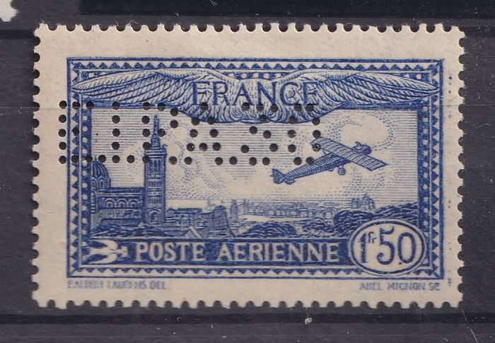 France 1930 - 1.50 francs Aeroplane over Marseille, perforated EIPA30, signed Calves - Yvert 6c