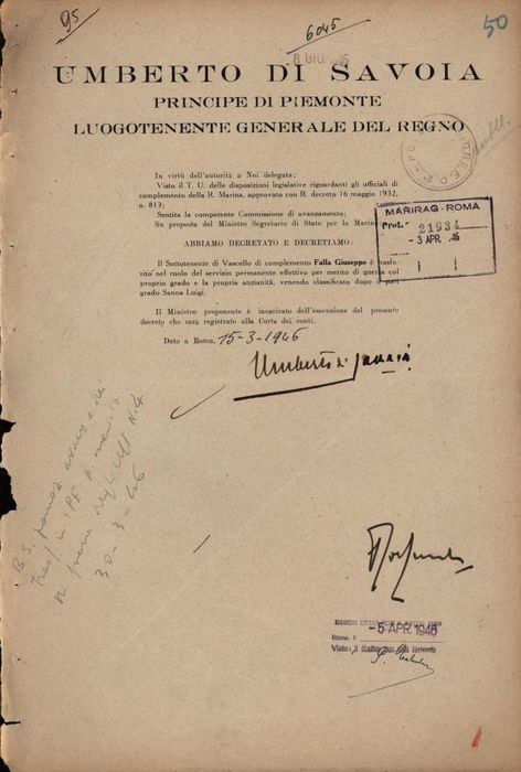 Umberto II di Savoia - Autograph; Decree for Transfer for Merits with Signed of Raffaele de Courten Minister of the Navy - 1946