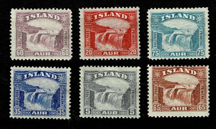 Iceland 1931 - Set views of the Gullfoss waterfalls - Unificato 139/144