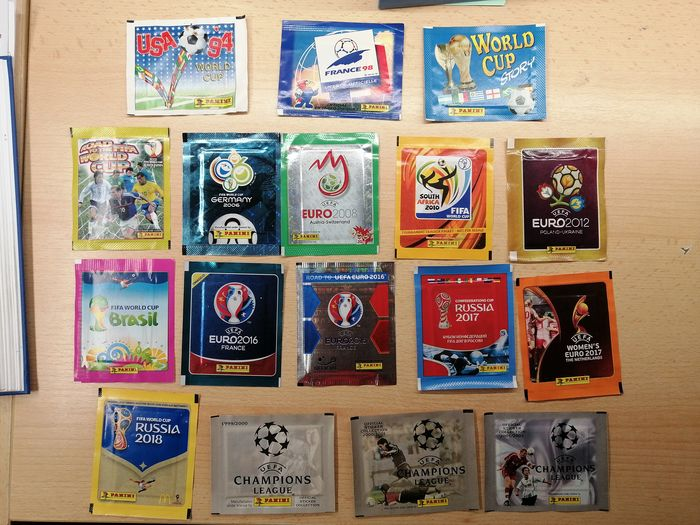 Panini - WC 94/98/06/10/14/18/Story/Road to + EC 08/12/16/17 + CL - 17 sealed packs