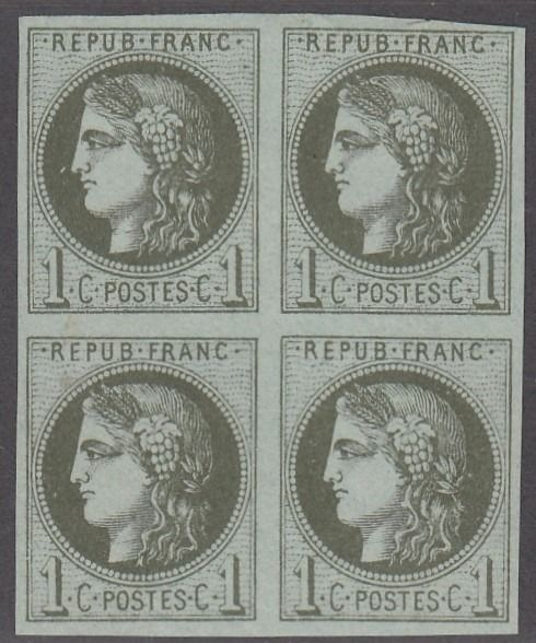 France - Bordeaux issue - 1 centime olive in block of 4, mint* - superb. - Yvert 39