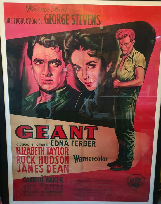 Giant (1956) - James Dean, Elizabeth Taylor - Poster, Original 1957 French Cinema release - 120x160 cm - Restored, with COA