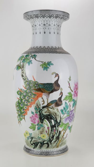 Vase - Porcelain - Large and fine Baluster vase with calligraphy - Marked - China - Second half 20th century