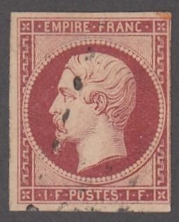 France - Empire non dentelé - 1fr carmin - Yvert 18