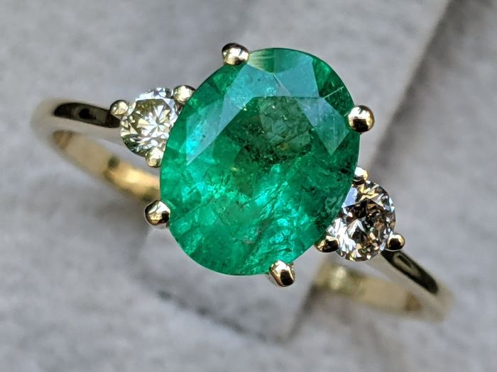 1.42 ct Natural Emerald Halo Engagement Ring - 14 kt. Yellow gold Ring - 14 kt Gelbgold - Ring - 1.42 ct Smaragd - Diamanten