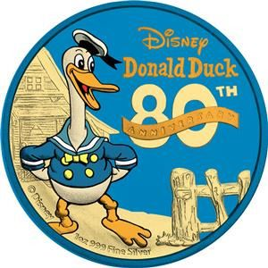Niue. 2 Dollars 2014 Donald Duck 80th Ann. - Blue Gold & Yellow Gold - 1 Oz